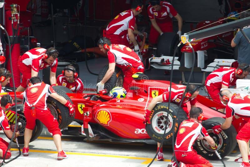 Felipe Massa tut eine Probegrube lizenzfreie stockfotografie