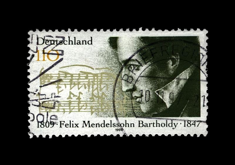Felix Mendelssohn Bartholdy, famous German composer, pianist, author of Wedding March, Germany, circa 1997,. GERMANY - CIRCA 1997: canceled stamp printed in royalty free stock photo
