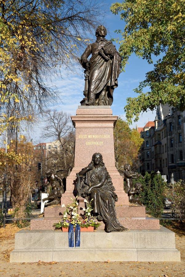 Felix Mendelssohn monument i Leipzig, Tyskland royaltyfria foton