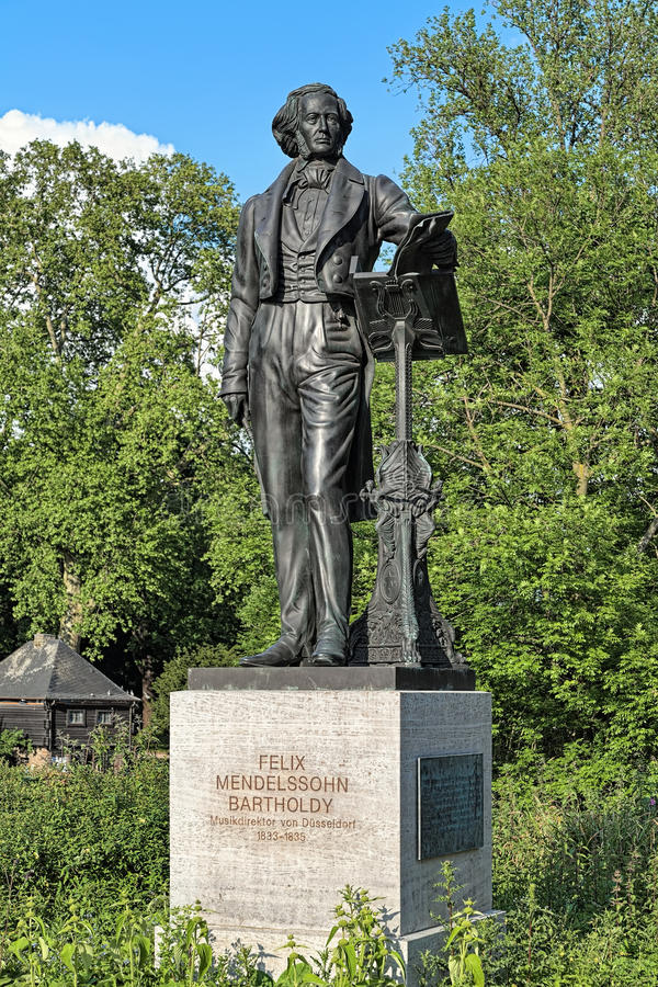 Felix Mendelssohn zabytek w Dusseldorf, Niemcy obraz royalty free