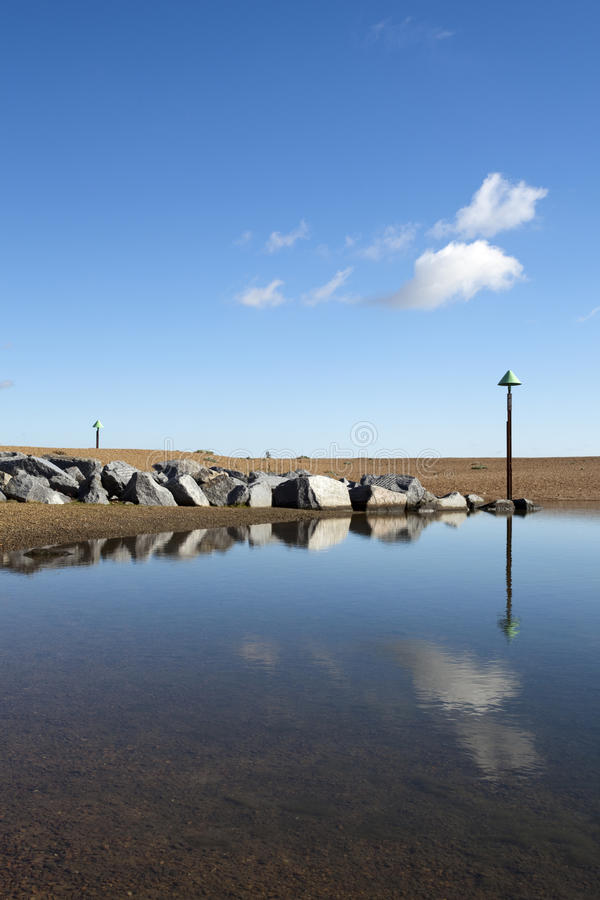 Felixstowe海滩,萨福克,英国 库存图片