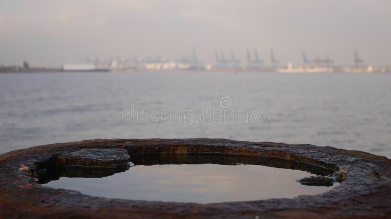 Felixstowe docks. From Harwich groyne royalty free stock images
