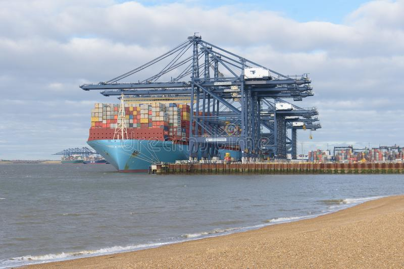 FELIXSTOWE FÖRENADE KUNGARIKET - JANUARI 27, 2019: Den Maersk linjen behållareskeppet Milan Maersk anslöt på Felixstowe port i su fotografering för bildbyråer