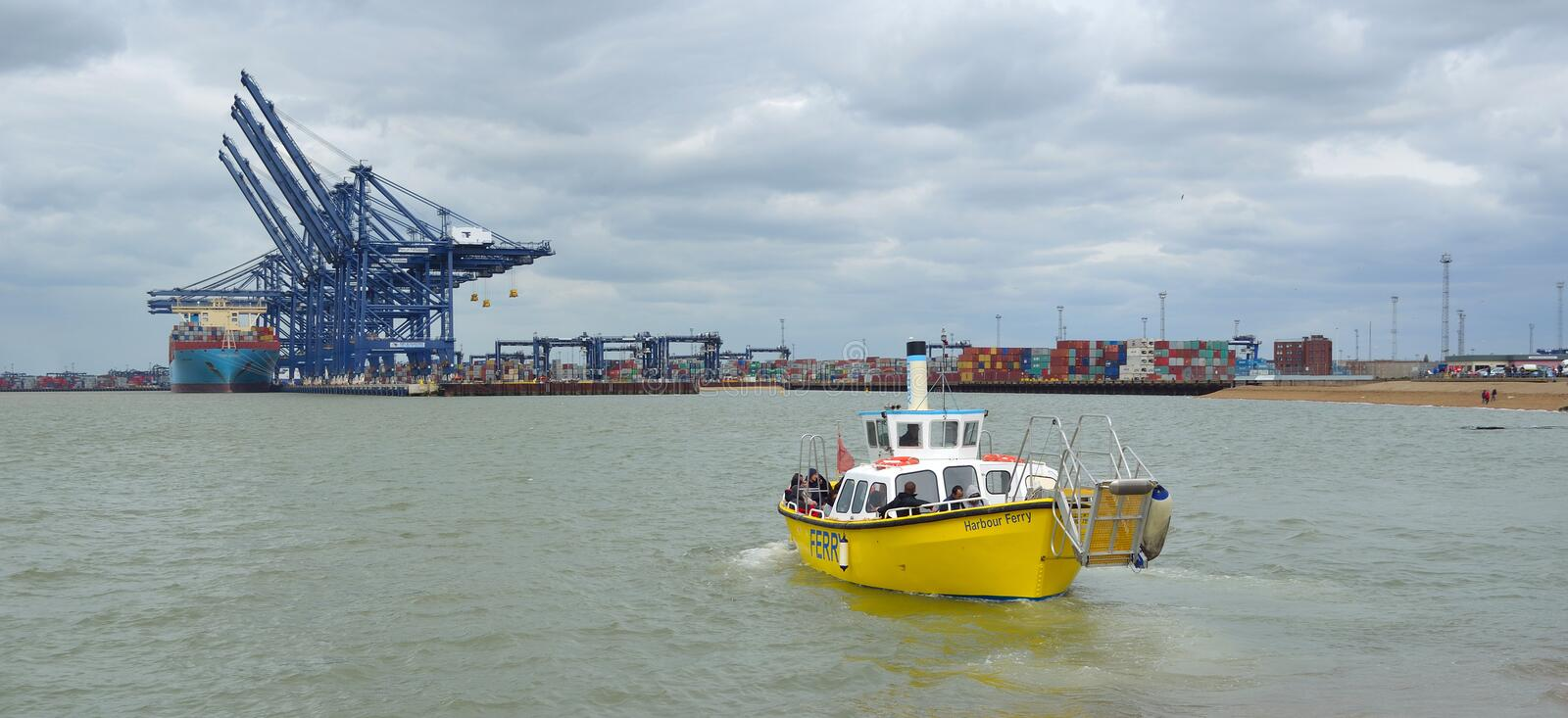 Ferry across the estuary of the river Orwell from Felixstowe stock photo