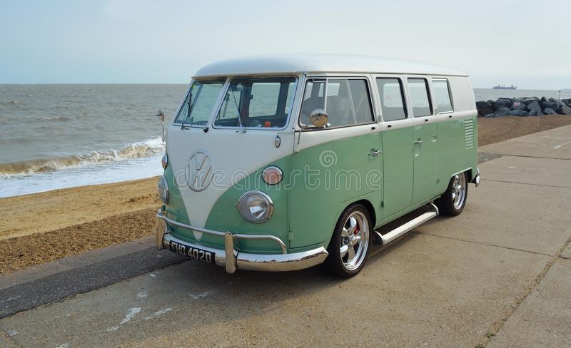 Download Classic Green And White VW Camper Van Parked On Seafront Promenade Editorial Photography