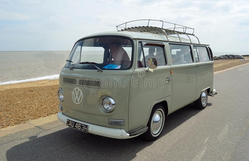 Classic Grey Volkswagen Camper Van Parked on Seafront Promenade. FELIXSTOWE, SUFFOLK, ENGLAND - MAY 07, 2017: Classic Grey Volkswagen Camper Van Parked on royalty free stock photography