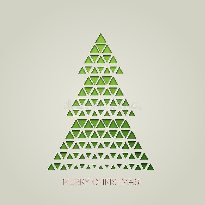 Feliz árbol de navidad con forma del triángulo stock de ilustración
