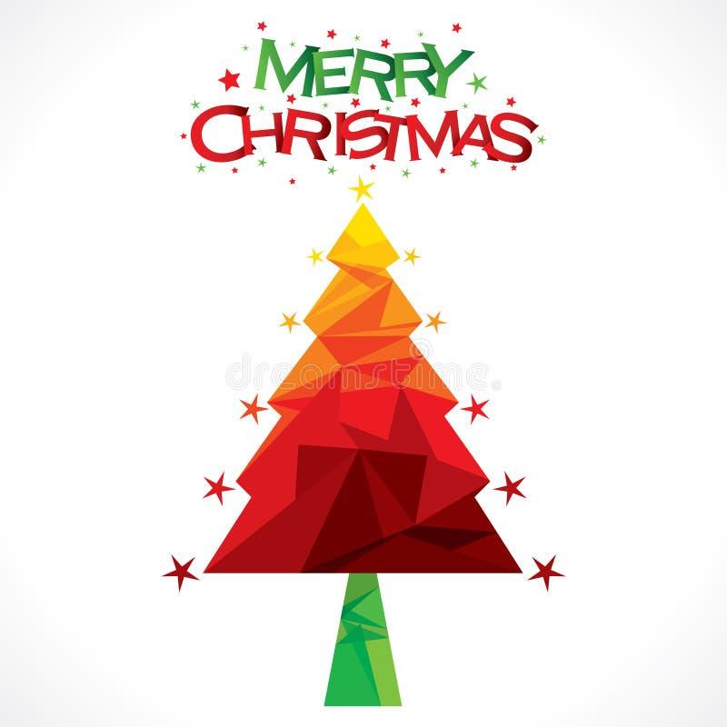 Feliz árbol de navidad del árbol colorido creativo stock de ilustración