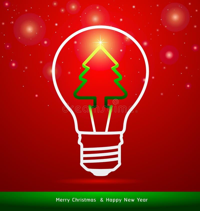 Feliz árbol de navidad en bombilla en fondo rojo ilustración del vector