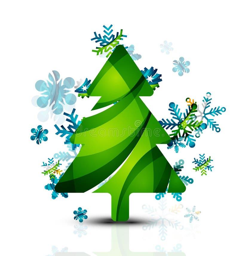 Feliz árbol de navidad, geométrico abstracto moderno stock de ilustración