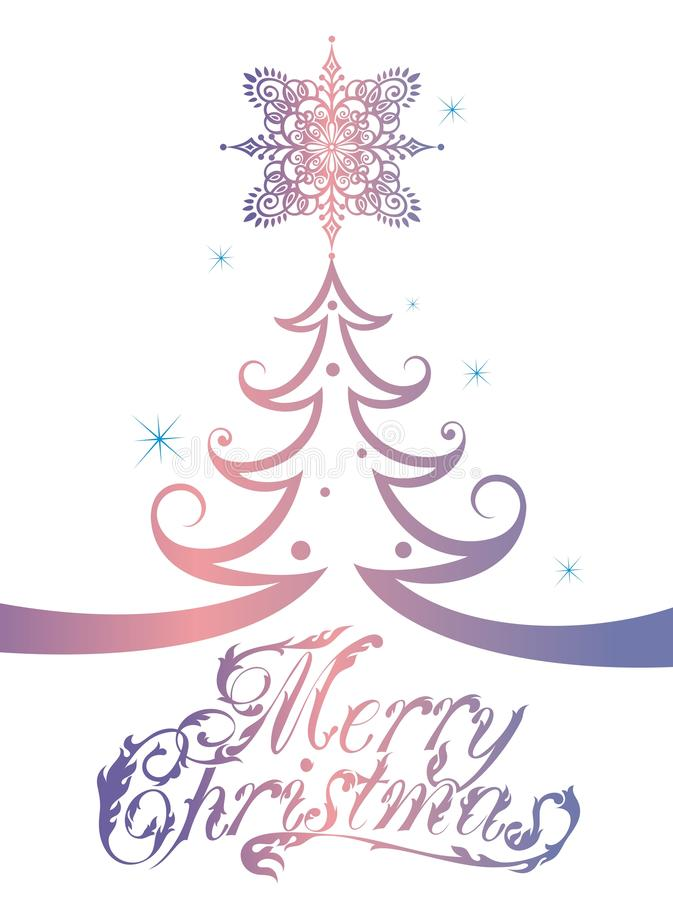Feliz árbol de navidad Texto de la caligrafía para las tarjetas de felicitación stock de ilustración
