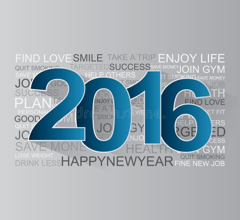 Feliz Año Nuevo 2016 ilustración del vector