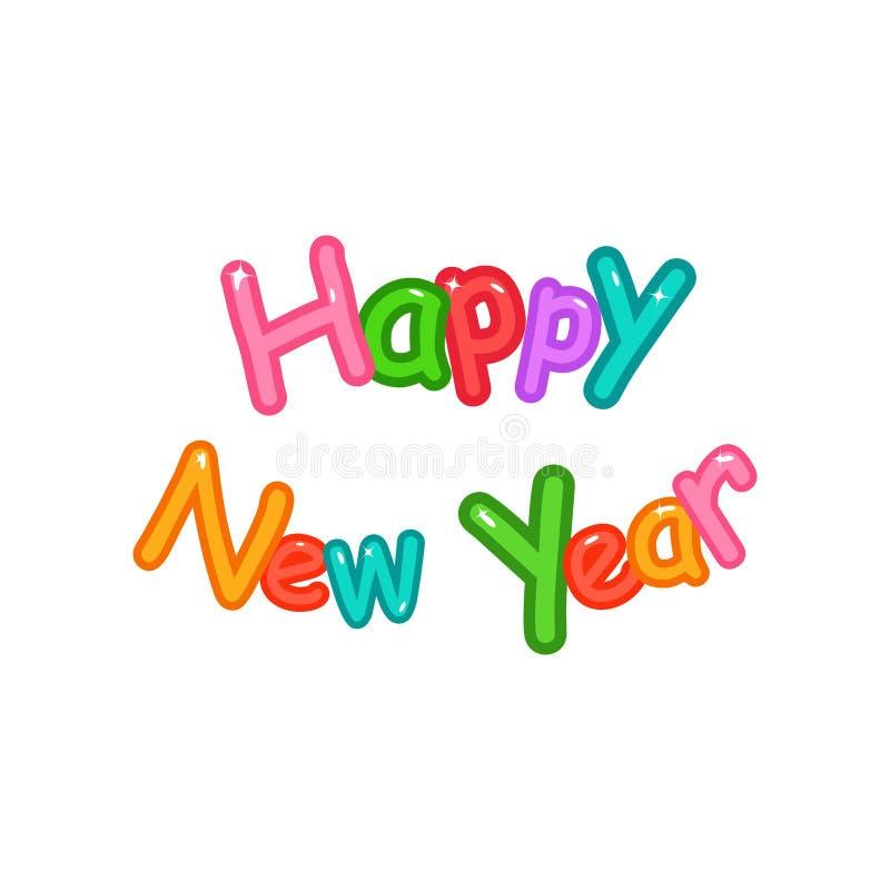 Feliz Año Nuevo, alfabeto de la letra, typograph de la fuente de los globos de las burbujas ilustración del vector