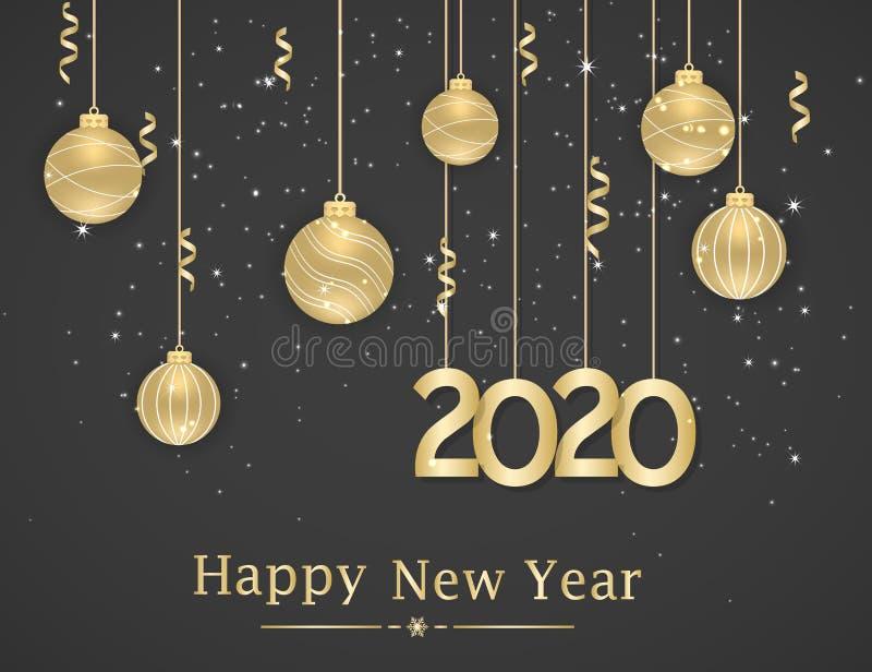 Feliz Año Nuevo 2020 Antecedentes de Año Nuevo con bolas colgantes doradas y cintas Texto, elemento de diseño libre illustration
