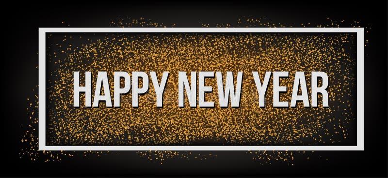 Feliz Año Nuevo Brillo 2019 del oro Fondo oscuro para el aviador, cartel, muestra, bandera, web, jefe stock de ilustración
