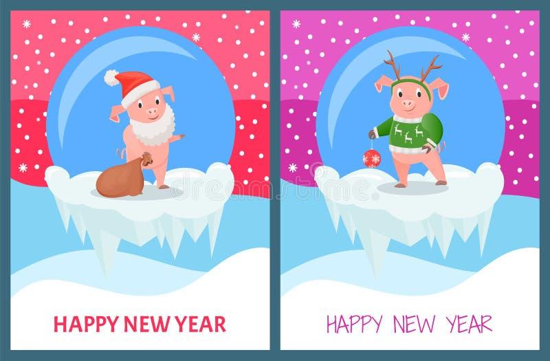 Feliz Año Nuevo, cerdo que lleva la impresión hecha punto del suéter stock de ilustración
