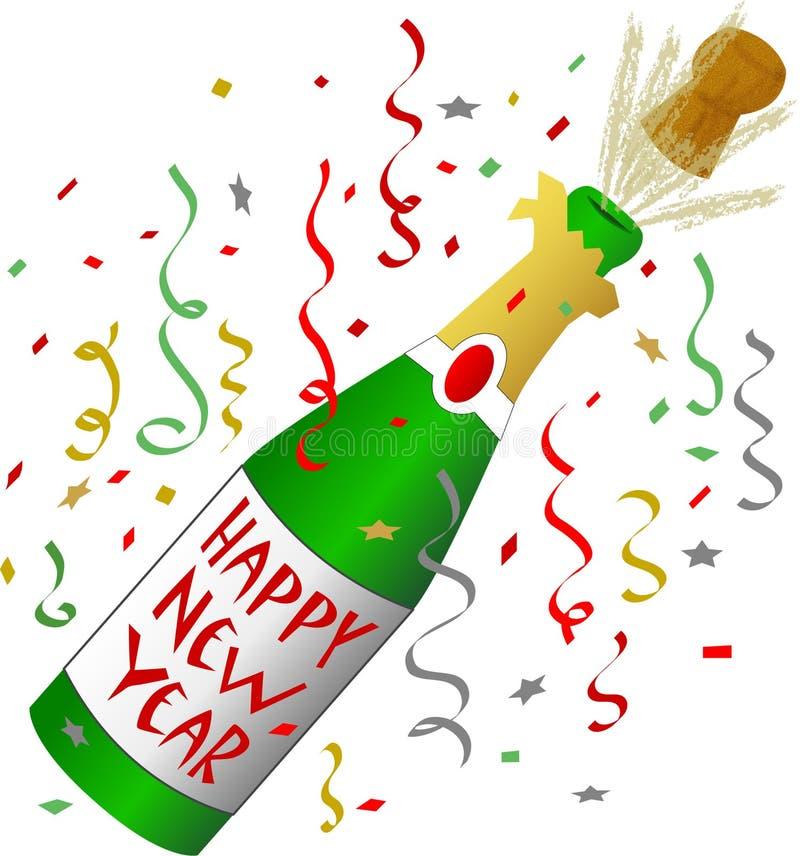 Feliz Año Nuevo Champán stock de ilustración