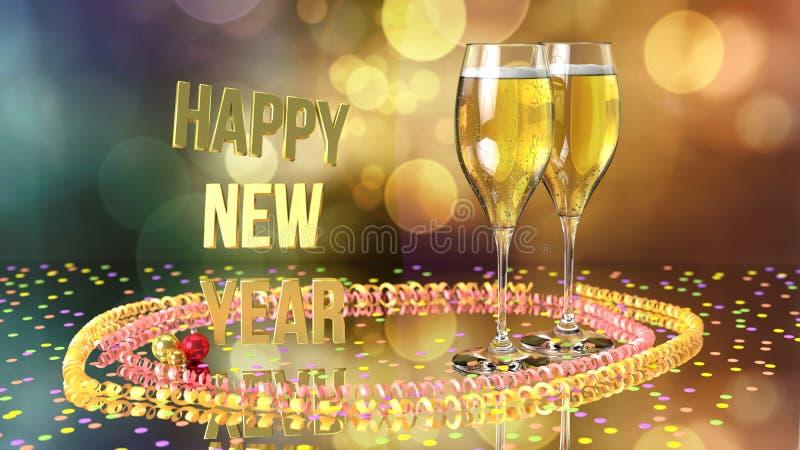 Feliz Año Nuevo con champán y confeti stock de ilustración