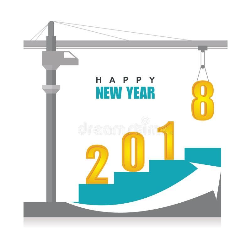 Feliz Año Nuevo 2018 con diseño de la grúa stock de ilustración