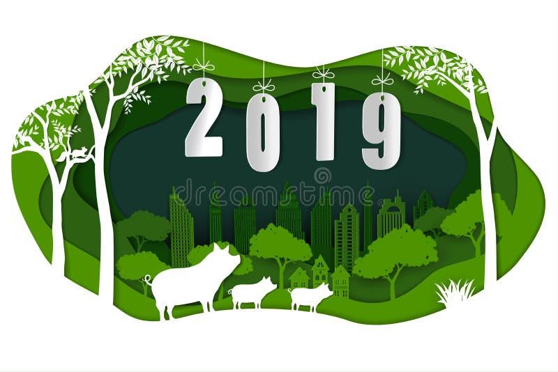 Feliz Año Nuevo 2019 con el cerdo lindo de la familia en fondo del arte del Libro Verde stock de ilustración