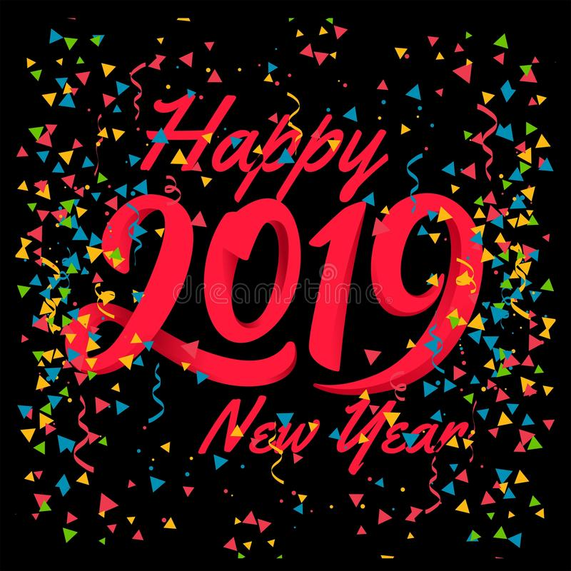 Feliz Año Nuevo 2019 con el fondo colorido del convetti libre illustration