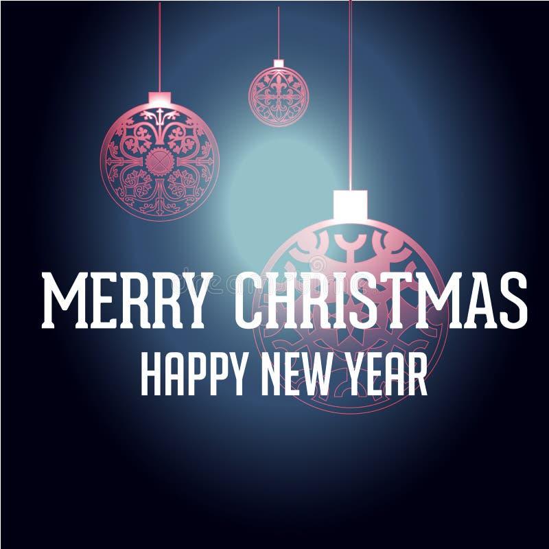 Feliz Año Nuevo con el fondo de la Navidad y el vector de la tarjeta de felicitación imagenes de archivo