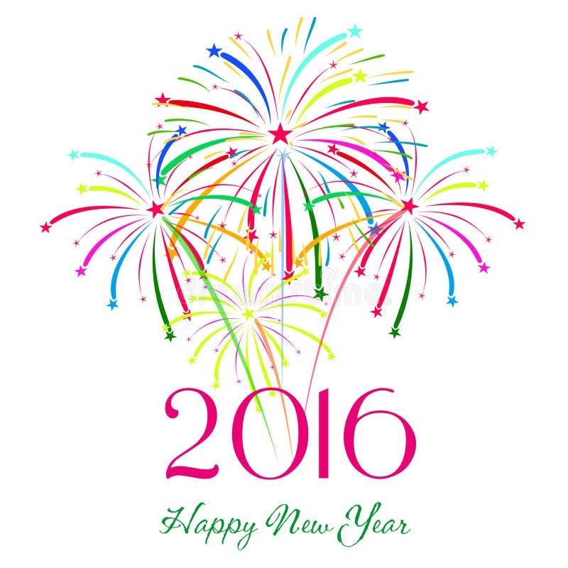 Feliz Año Nuevo 2016 con el fondo del día de fiesta de los fuegos artificiales libre illustration