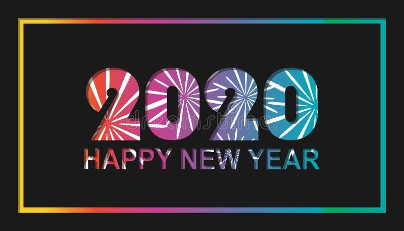 Feliz Año Nuevo 2020 con el fuego artificial - diseño de tarjeta colorido - ejemplo del vector en fondo negro stock de ilustración
