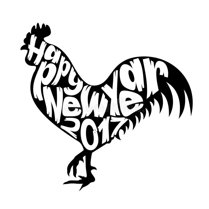 Feliz Año Nuevo 2017 con el gallo libre illustration