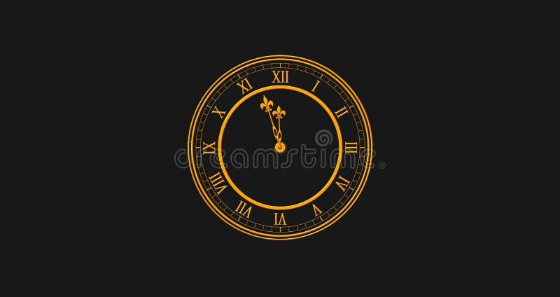 Feliz Año Nuevo 2019 con el reloj coloreado de oro que pega AG doce ilustración del vector