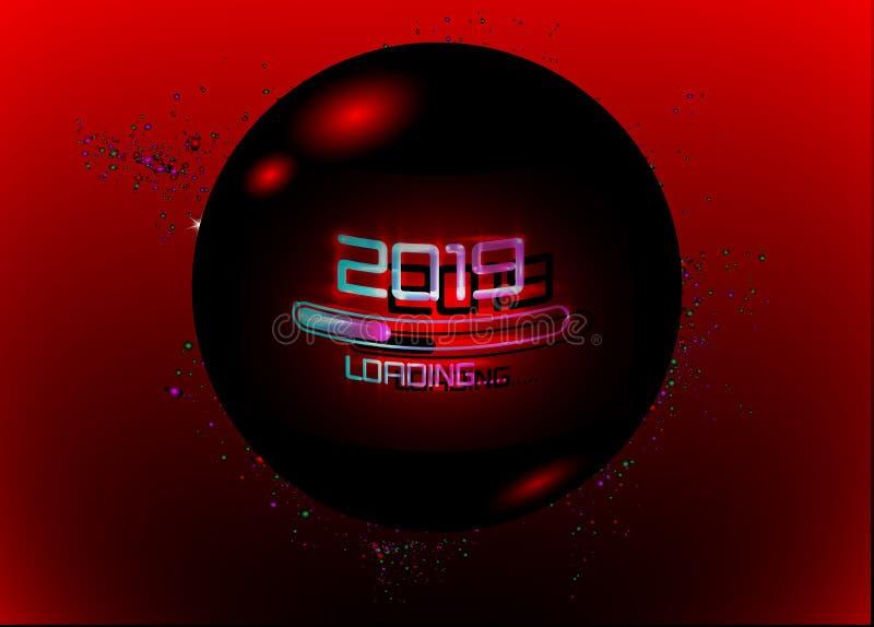 Feliz Año Nuevo 2019 con estilo de neón azul cargado del icono Barra de progreso casi que alcanza víspera del ` s del Año Nuevo E libre illustration