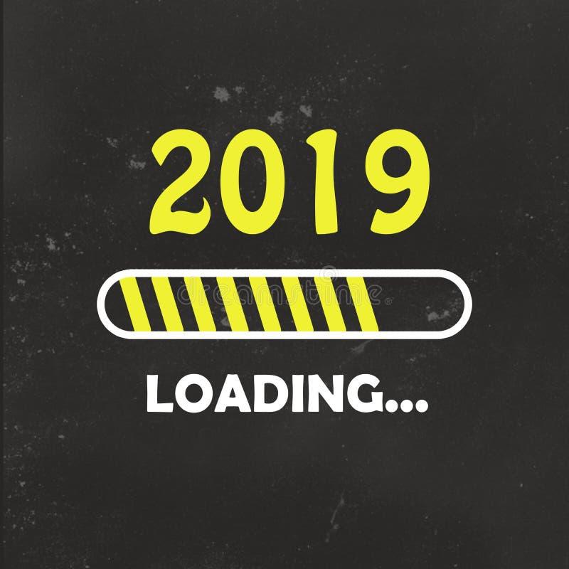 Feliz Año Nuevo 2019 con estilo de neón cargado del icono Barra de progreso casi que alcanza víspera del ` s del Año Nuevo ejempl imágenes de archivo libres de regalías