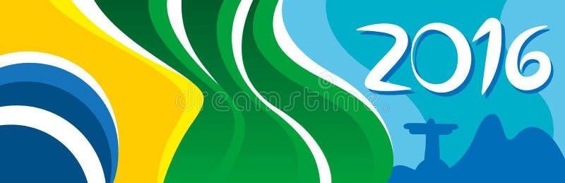 Feliz Año Nuevo con la bandera hermosa del Brasil en ciudad maravillosa stock de ilustración