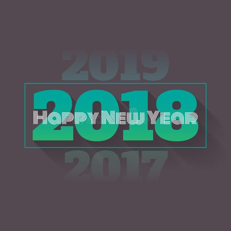 Feliz Año Nuevo 2018 con la desaparición de 2017 y de 2019 - ejemplo del vector ilustración del vector