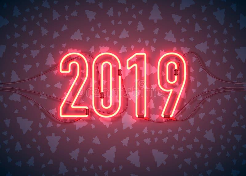 Feliz Año Nuevo con la señal de neón 2018 en fondo oscuro Objetos relacionados de los ornamentos de la Navidad en fondo del color ilustración del vector