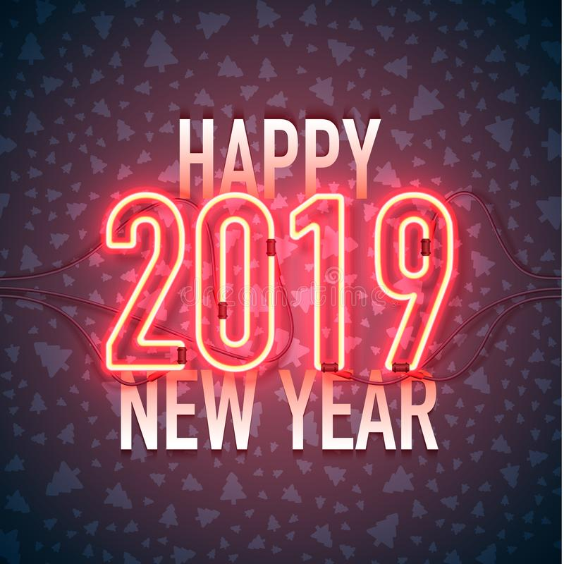Feliz Año Nuevo con la señal de neón 2018 en fondo oscuro Objetos relacionados de los ornamentos de la Navidad en fondo del color stock de ilustración