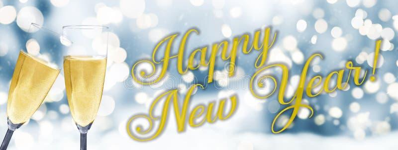 Feliz Año Nuevo con las flautas de champán contra fondo del invierno foto de archivo