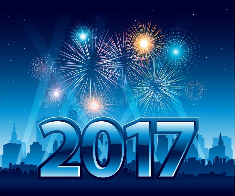 Feliz Año Nuevo 2017 con los fuegos artificiales y la ciudad en fondo stock de ilustración