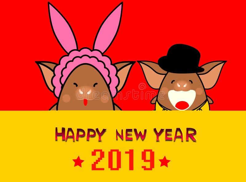 Feliz Año Nuevo 2019 con pocos cerdos en el fondo rojo - concepto del ejemplo fotos de archivo libres de regalías