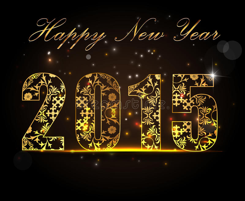 Feliz Año Nuevo 2015, concepto de la celebración con el texto de oro ilustración del vector
