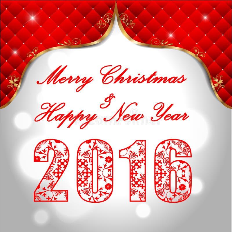 Feliz Año Nuevo 2016, concepto de la celebración con el texto de oro en resplandor hermoso en la noche libre illustration