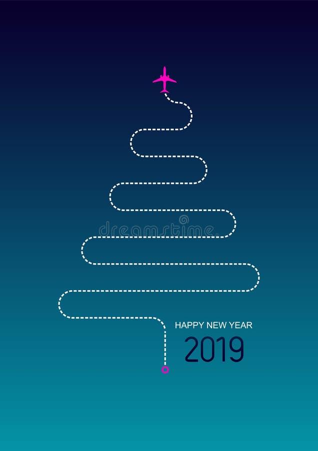 Feliz Año Nuevo 2019 concepto del recorrido La izquierda plana un rastro del árbol del Año Nuevo Ilustración del vector En fondo  libre illustration