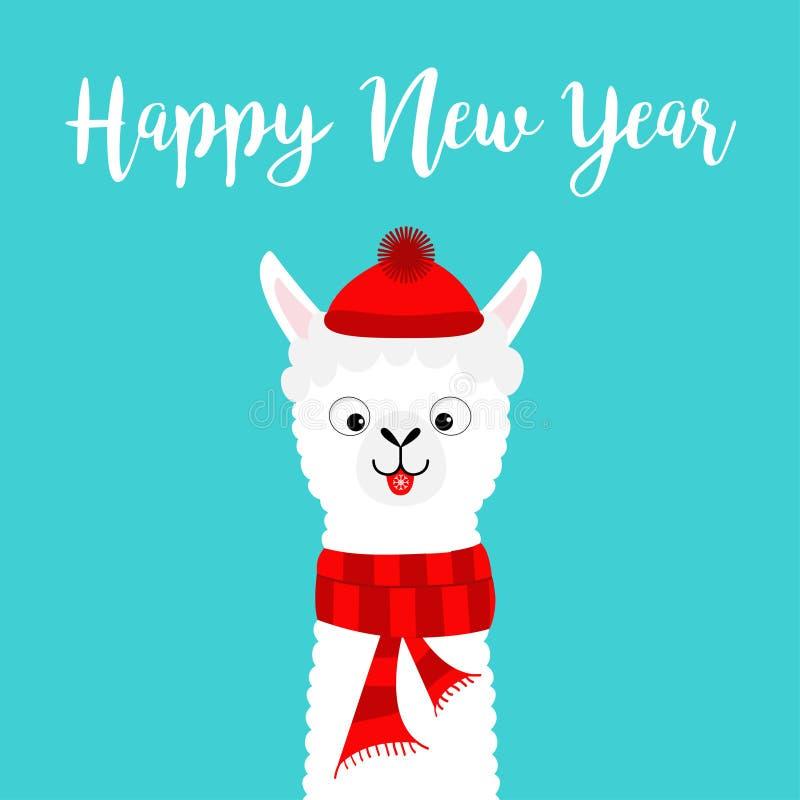 Feliz Año Nuevo Cuello de la cara del bebé de la alpaca de la llama Sombrero rojo de Santa Claus, bufanda Carácter divertido del  ilustración del vector