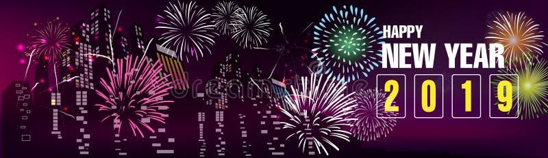 Feliz Año Nuevo 2019 de la bandera y Feliz Navidad libre illustration
