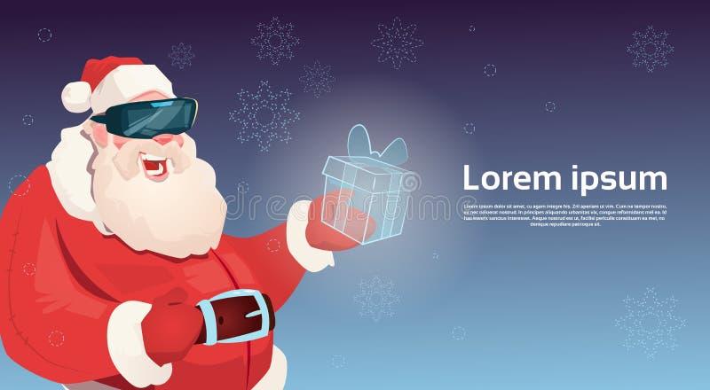 Feliz Año Nuevo de la Feliz Navidad de la caja del presente de la realidad virtual de Santa Claus Wear Digital Glasses Hold ilustración del vector