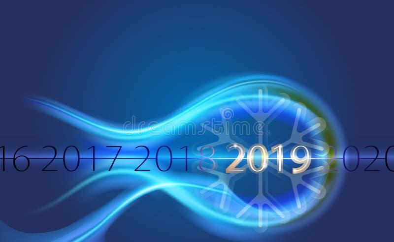 Feliz Año Nuevo 2019 de la inscripción plateada del fondo con el bokeh abstracto con el modelo de la llamarada del copo de nieve  stock de ilustración