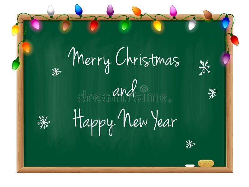 Feliz Año Nuevo de la pizarra imagenes de archivo