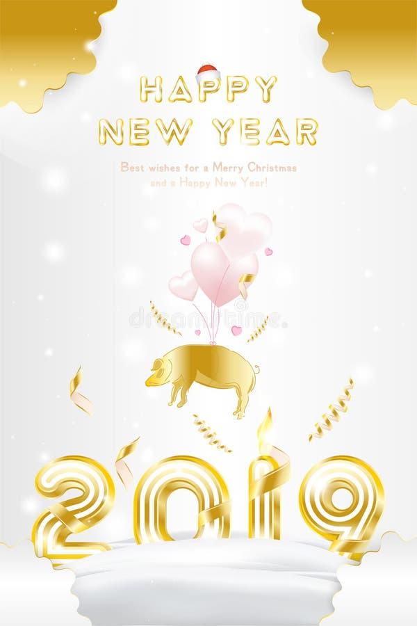 Feliz Año Nuevo 2019 de la postal con la fuente brillante del oro original Postal con la muestra rosada del zodiaco del cerdo y c ilustración del vector