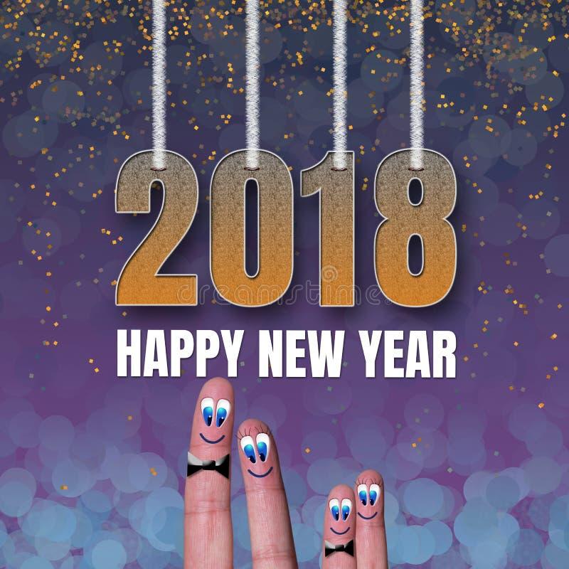 Feliz Año Nuevo 2018 de la tarjeta cuadrada con los fingeres divertidos de la familia fotos de archivo libres de regalías