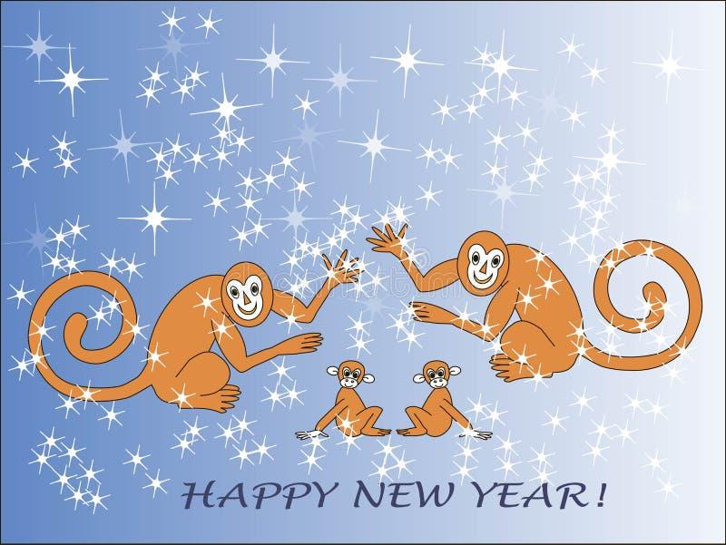 Feliz Año Nuevo de la tarjeta de felicitación El Año Nuevo chino Familia del mono, animales marrones ilustración del vector